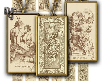 Durer Tarot Card Domino - Major Arcana Major  trumps Rectangles 1x2 inch Antique Digital Domino Art Downloadable images Collage Sheet R_019