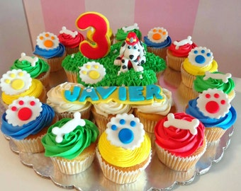 12 Paw pets and bones Edible Fondant Cupcake Toppers