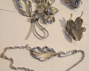 Bond Boyd vintage sterling silver brooch, earrings & bracelet set, delicate