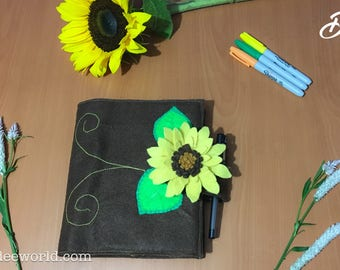 Notebook cover / Journal cover / Diary Cover / Refillable felt journal cover / Sunflower notebook cover / School supplies