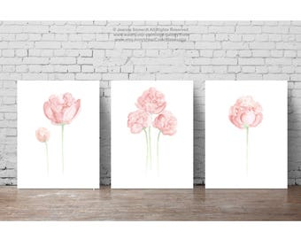 Peony Shabby Chic Paper Flower Bouquet Art Print set 3, Olive Green Stems Light Pink Flowers Bud Baby Girl Nursery Room Painting Wall Decor