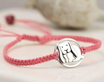Sterling Silver Lop Eared Bunny Bracelet - Bunny Jewellery - Gift Card Bracelet
