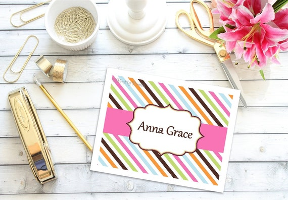 Personalized Note Cards - Stripes - Note Cards - Personalized Stationery - Notecards - Thank You Notes - Personal Note Cards - multi colored