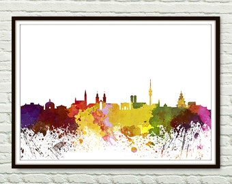 Munich, Germany Skyline Print, Watercolor Art, Munich Art, City Poster, City Skyline, Wall Art, Munich Cityscape Home Decor *11*