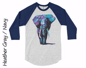 Elephant Raglan Unisex Raglan Shirt Mens Clothing Shirts Womens Clothing Elephant T-shirt  Cotton T-shirt Girls Tshirt Teens Raglan Tshirt