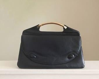 Vintage Coret Purse, Metal Handle Handbag, 70s Handbag, Top Handle Purse, Navy Blue Leather Purse, Envelope Purse