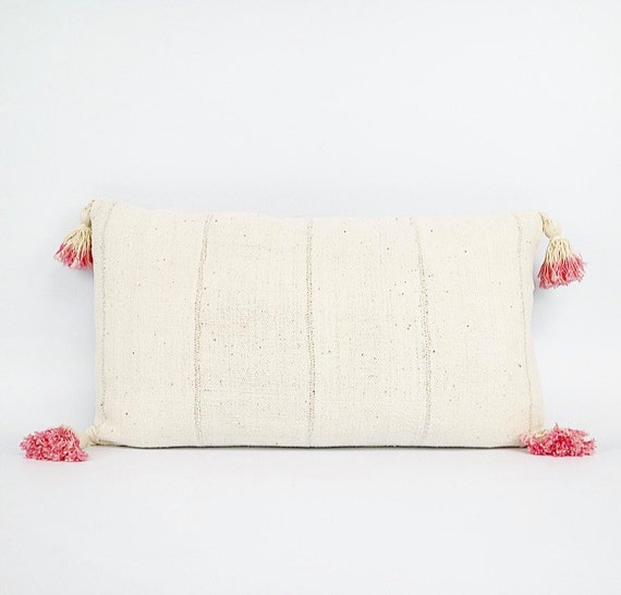 Authentic Natural White African Mudcloth Textile And Pink Dip-Dyed Tassel Lumbar Pillow 14x24