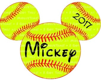 IRON-ON Softball Mickey Ears! - Mouse Ears Tshirt Transfer / Decal