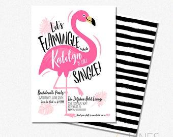 "Flamingle Bachelorette Invitation   Flamingle Invite   Flamingle Shower Invite   Flamingo Printable - 5X7 with *bonus reverse side"""
