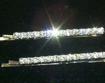 Style # 6492 Pair of Rhinestone Single Row Bobbie Pins