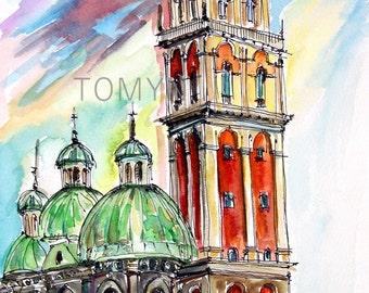 UKRAINE. LVIV  ART. Original watercolor painting. Assumption Church, Tower Kornyakta.