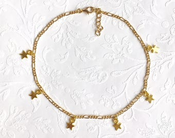 gold star choker necklace - gifts for her - gold star necklace - gold star choker - gold choker necklace - bohemian necklace - star necklace