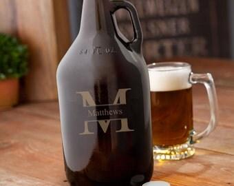 Monogrammed Amber Beer Growler - Groomsmen -  Best Man Gift