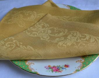 8 Vintage Irish Linen Revived Damask napkins, Butterscotch