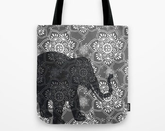 Elephant Tote Bag, Stylish bag, Gifts for Her, Black Grey White, Tote Hand Bag