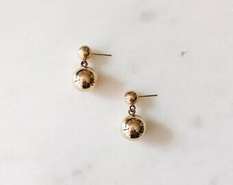 1980's Dead Stock Vintage Single Gold Ball Drop Minimal Earrings