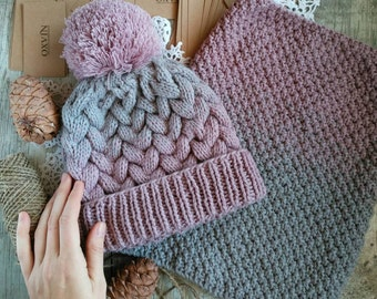 Knitted cap. Women's cap. Knitted set. Women's scarf. Set for winter