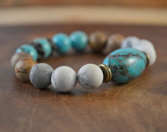 Turquoise Magnesite Bracelet, Picture Jasper, Bohemian Jewelry, Stretch Bracelet, Stacking Bracelet, Boho Bracelet, Chunky Bracelet