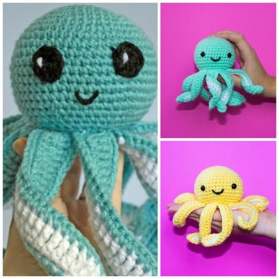 Crochet Church Purse Doll Pattern : Crochet Octopus LARGE and MINI Combo Amigurumi Mini Octopus