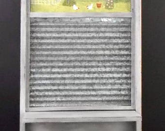 Gray Weathered Washboard Shelf Magnet Message Board Pegs Hand Painted Laundry Scene Farmhouse Cottage Rustic