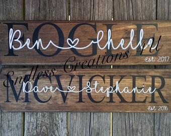 Established last name family wood sign/ est. date sign/ family est. date sign/ last name sign