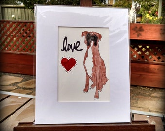 Boxer Dog Love-Original Watcolor-Boxer Heart Love watercolor-limited edition-light brown fawn