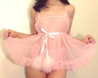 Blushing Babydoll With Ruffle Hem and Satin Ribbon Tie