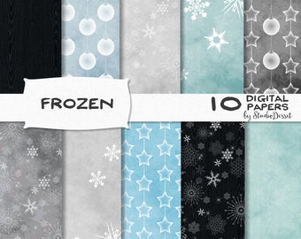Frozen Digital Papers, Black Snowflake Patterns, Blue Digital Paper Pack, Snow Backgrounds, Black Wood Papers - Personal & Commercial use