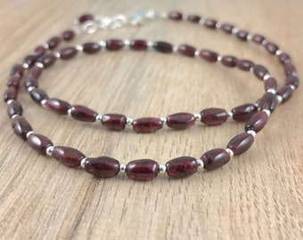 Garnet Bead Necklace, Garnet Jewellery, January Birthstone, Sterling Silver Necklace, January Birthday Gift