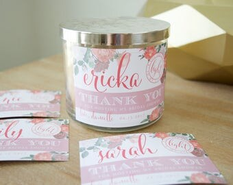 Thank You for Hosting My Bridal Shower Custom Candle Label (Petal Pink & Blush) - Hostess Gift