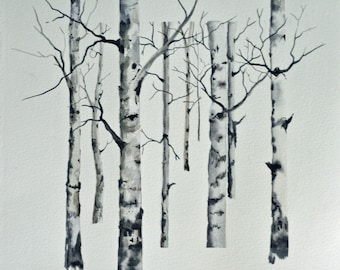 Watercolor original aspen watercolor and ink painting orignal watercolor landscape painting fine art framed painting black and white art