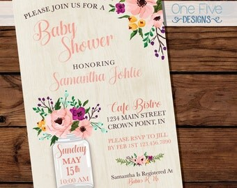 Baby Shower Invitation - Watercolor Flowers with Mason Jar - Printable (5x7)