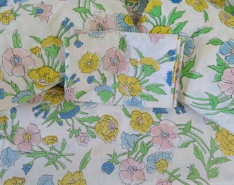 Vintage Floral Twin Fitted Sheets and Pillow Cases (Two Each) - Sears, Roebuck & Co. - Pink Yellow Blue Green
