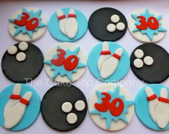 Edible Fondant Tenpin Bowling Cupcake Toppers 4 of each design -Bowling Ball, Pins and Personalised Age