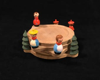 Vintage Wooden Coasters with Pine Trees and Miniature People, Folk Art Wood Coaster Set