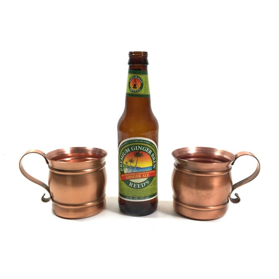 Two Vintage Solid Copper Moscow Mule Mugs by by PrimaTreasures