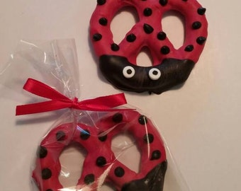 Lady Bug Chocolate Covered Pretzels