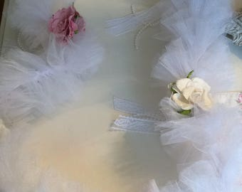 White Tulle Swag w/ Pink & White Roses