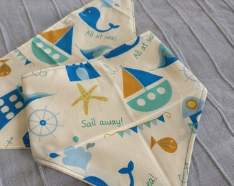 All at Sea Bandana Bib - Baby dribble neckerchief bib vintage retro seaside ocean whale