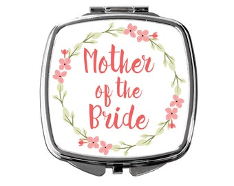 Mother of the Bride Gift - Floral Mother of the Bride Compact Pocket Makeup Mirror - Coral