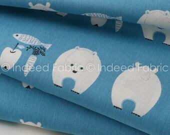 Polar Bears Blue- Lightweight Canvas, Kiyohara Fabrics