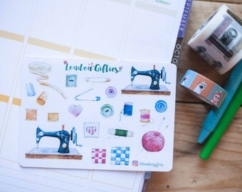 Sewing bee, craft lover - decorative watercolour planner stickers suitable for any planner -308-