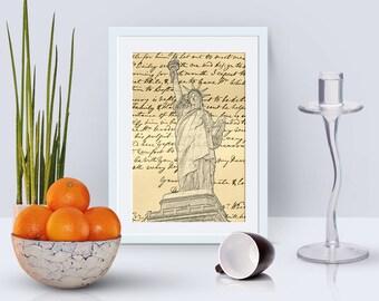 4x6 New York City card instant download, Statue of Liberty card, 300 dpi jpeg, digital scrapbook paper, digital scrapbooking goodies
