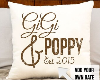 GiGi and Poppy pillow, grandparent christmas gift, grandparent gift, grandma, grandpa, est date, grandparents personalized est date pillow