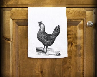 Rooster Kitchen Towel - Rooster Bar Towel - Wedding Gift - 2nd Anniversary Cotton Gift - Second Anniversary Gifts - Rooster Towels