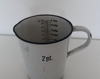 Vintage Enamel Measuring Jug