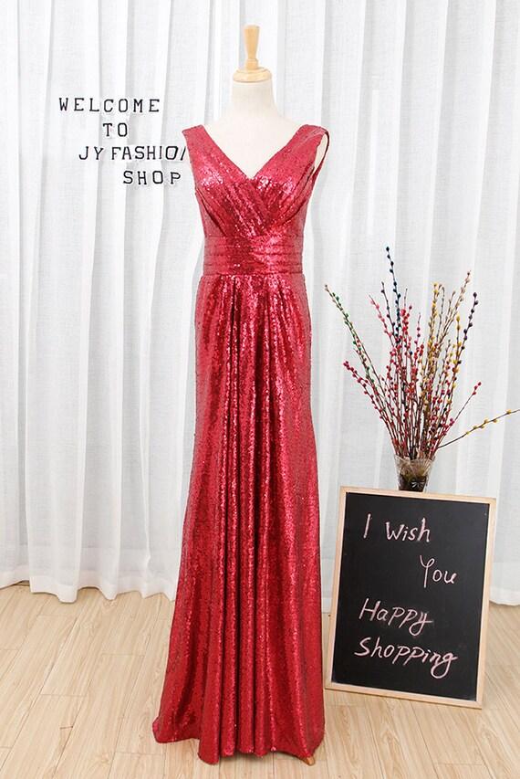 Dark red sequin prom dress,2017 new fashion evening dresses,Sexy V-neck bridesmaid dress,Long