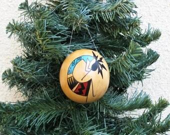 Southwestern Hand-painted Gourd Christmas Ornament Kokopelli Flute Player Southwest #335G