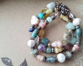 Stone Beaded Stackable Bracelets or Necklace