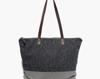 TOTE BAG large, printed. Casual, leather straps & zip - SEURAT